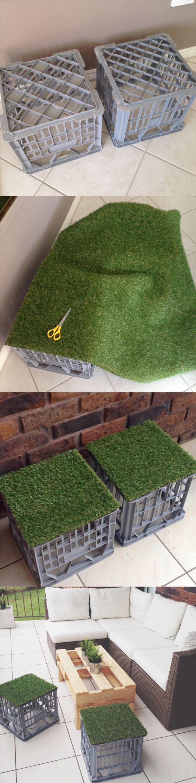 Taburete DIY con cajas plastico - blog.princesspolly.com - DIY Outdoor Stools