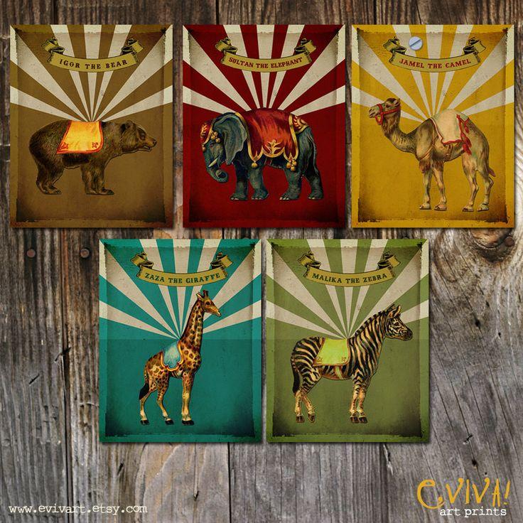 Circus Animals VIntage Set Prints 8x10 Nursery Decor by evivart