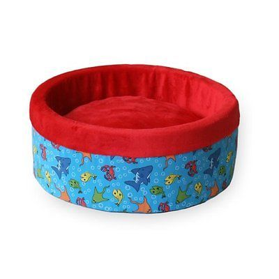 K&H Thermo-Kitty Heated Cat Bed, Small 16-Inch Round, Fish Print, Red