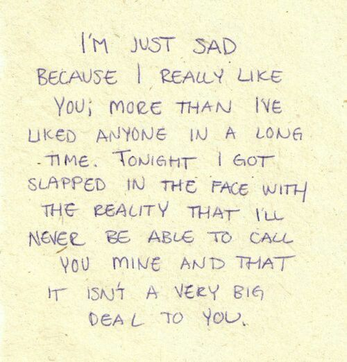 Sad love quote... This totally speak to my heart on how I'm feeling right now. But the worst thing is when you could see this coming and you have nobody to blame but yourself.