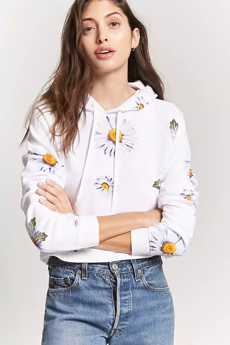 Product Name:French Terry Daisy Hoodie, Category:top_blouses, Price:15.9