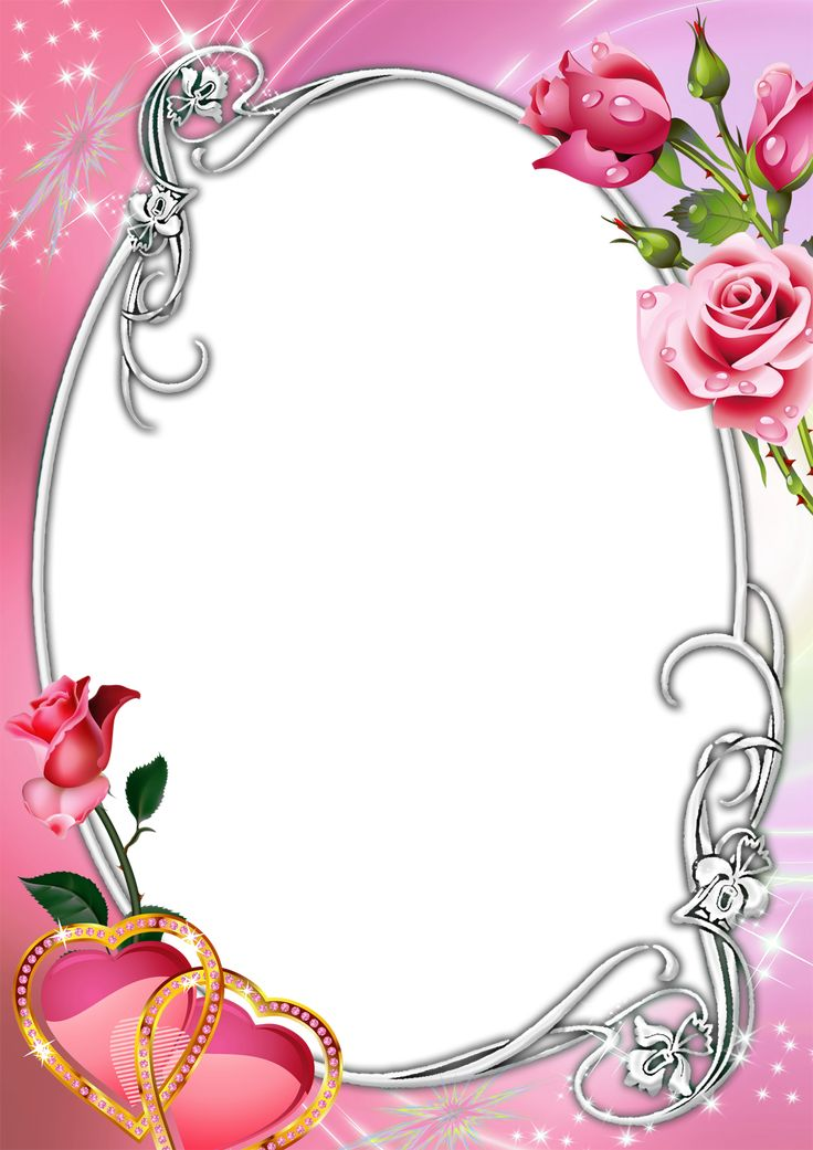 Pink transparent frame with roses and hearts frames - Pink roses and hearts wallpaper ...