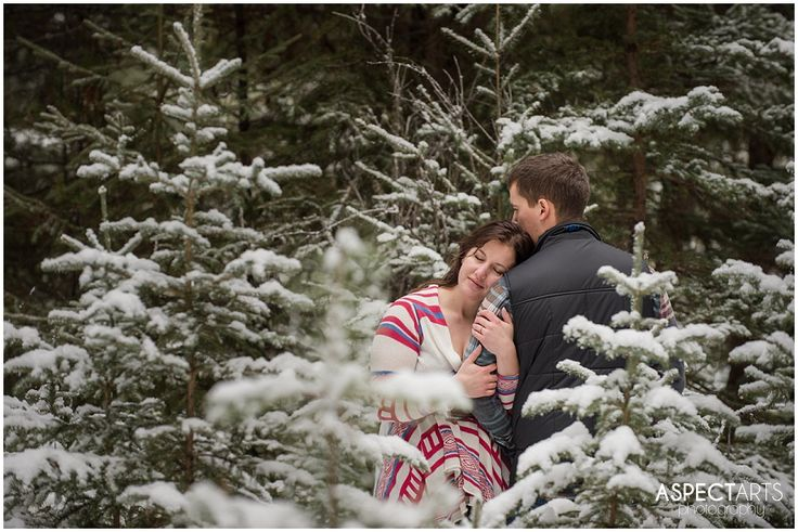 17 Engagement session in the snowy trees Kamloops photographer