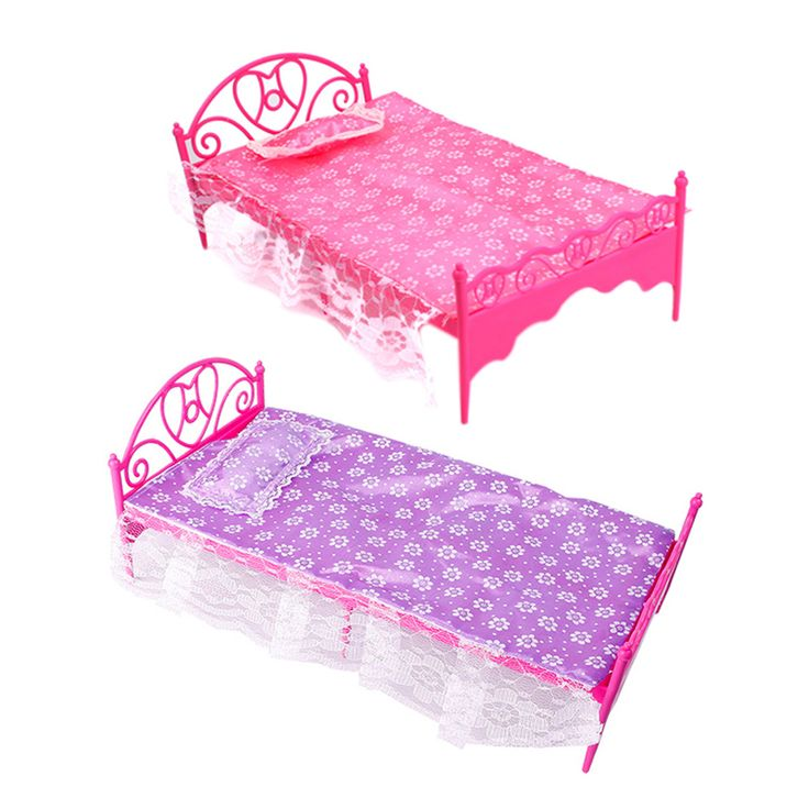 Doll Bed Girls Beautiful Pink Plastic Bed Bedroom Furniture For Dolls Dollhouse (Pink, Purple -color Send by random)