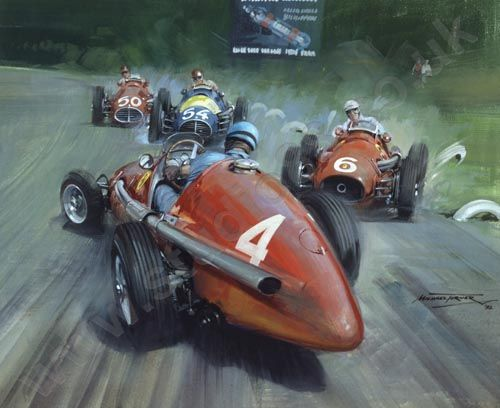 """""""1953 Italian Grand Prix"""" by Michael Turner. Ascari spins in front of Farina, Marimon and Fangio on the last corner of the final lap of the 1953 Italian Grand Prix at Monza. Fangio managed to thread his way through the carnage to win the race, with Farina second. Giclée Print published from a gouache painting"""