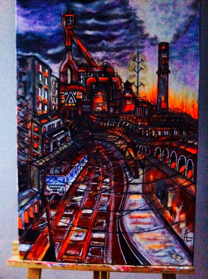 Altos hornos de Vizkaia  , acrílico sobre lienzo 80x100