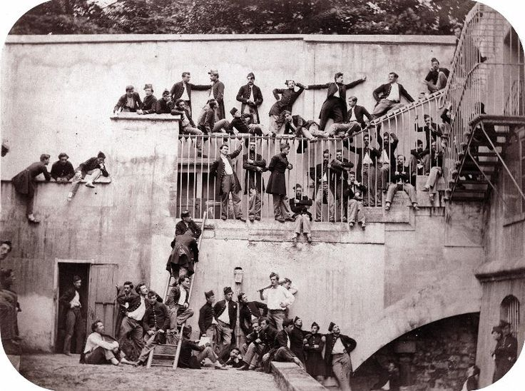 Cadets at the Ecole Polytechnique, Paris, 1861. That's what Paris looked like from between the 1850s and the late 1860s. Vue Prise du Pont Notre-Dame, Paris, 1851 Eglise Métropoli...