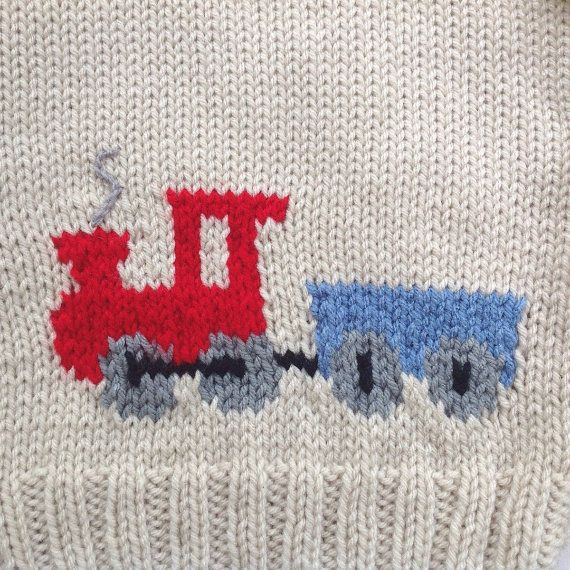 Jersey de bebé con adorno de tren 6 a 12 meses por LurayKnitwear