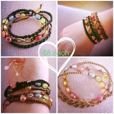 Bracelet wrap. Beads. Chakras. Infinity. Assorted colours. Macrame. Jewellery. Www.releasingthebutterflywithin.weebly.com. Or facebook: unique handmade jewellery by RTBW