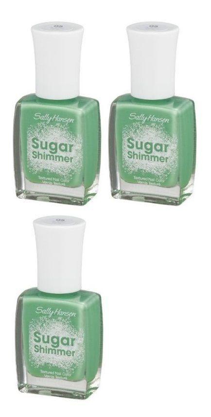 Lot Of 3 - Sally Hansen Sugar Shimmer Textured Nail Polish 05 Mint Tint