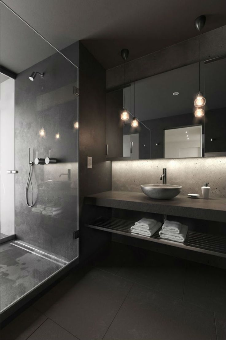 Best 25 black bathrooms ideas on pinterest concrete for Bathroom designs coolmine