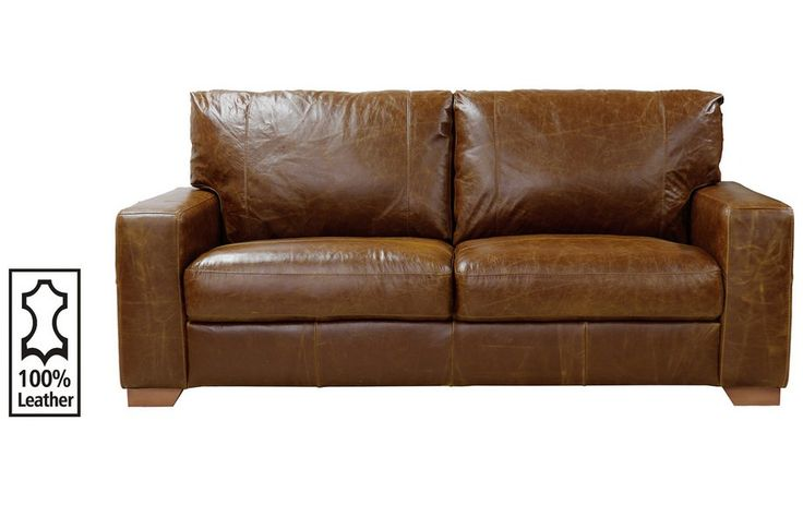 Buy Heart of House Eton 3 Seater Leather Sofa - Tan at Argos.co.uk - Your Online Shop for Sofas, Living room furniture, Home and garden.
