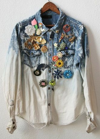 Denim Embellishment: Brooches Pin, Jeans Shirts, Wear Brooches, Grandma Brooches, Vintage Brooches, Denim Refashion, Upcycled Denim Shirts, Denim Embellishments, Denim Rules