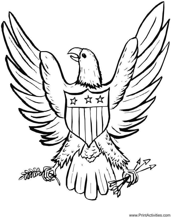 the 64 best images about coloring pages on pinterest | colouring ... - American Bald Eagle Coloring Page