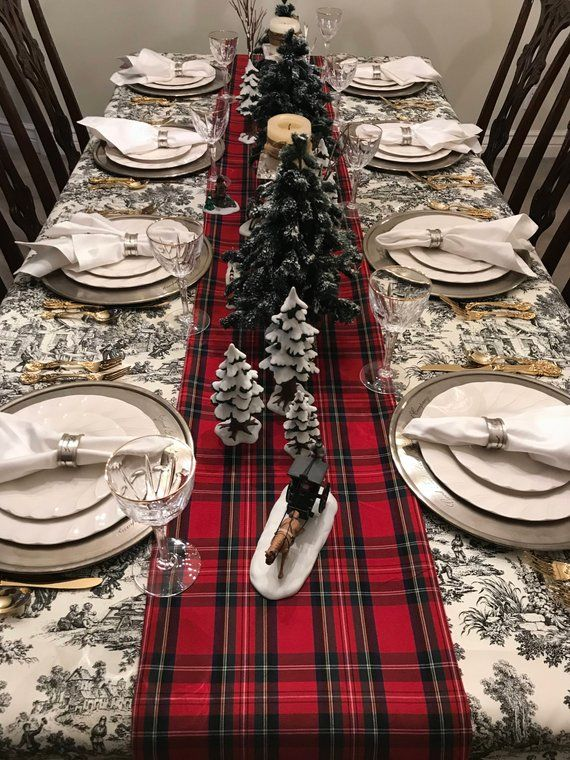 Red Tartan Table Runner Scottish Plaid Royal Stewart Plaid Etsy Christmas Table Settings Christmas Dining Table Christmas Table Cloth