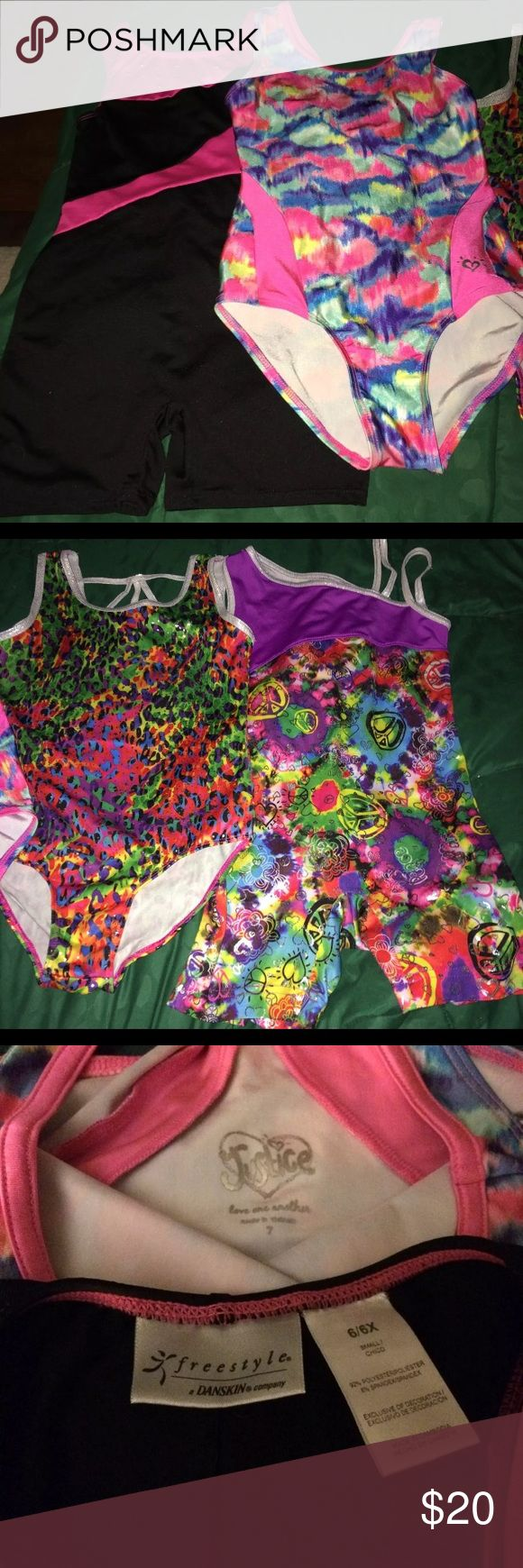 4 Different Girls Gymnastics Body Suits 4 different Girl's gymnastics body suits. Only worn for 6 months once a week to gymnastics classes. Three of the suits are Danskin and one of the suits are Justice. Sizes range from 6x -7. Smoke free home. No flaws and no stains. Danskin Now One Pieces Bodysuits