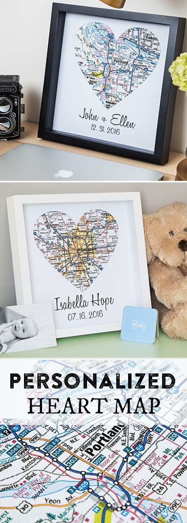 Frame the place that's near and dear to their heart. This custom map art includes a heart shaped cutout, a date, and the name(s) you choose. The entire design is given dimension inside a shadow box frame, Celebrate a wedding, graduation, anniversary, or special occasion by showing your allegiance to a special time and place.