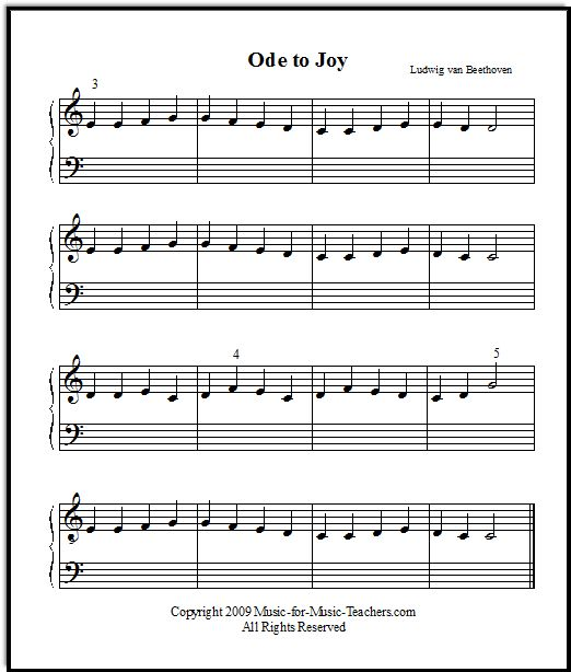 Ode To Joy Treble Clef Only.