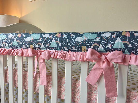 Unicorn Love Crib Bedding Unicorn Rail Guards Unicorn Baby