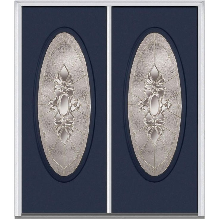Milliken Millwork 62 in. x 81.75 in. Heirloom Master Decorative Glass Full Oval Lite Painted Majestic Steel Exterior Double Door, Naval