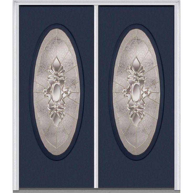 Milliken Millwork 62 in. x 81.75 in. Heirloom Master Decorative Glass Full Oval Lite Painted Majestic Steel Exterior Double Door, Naval