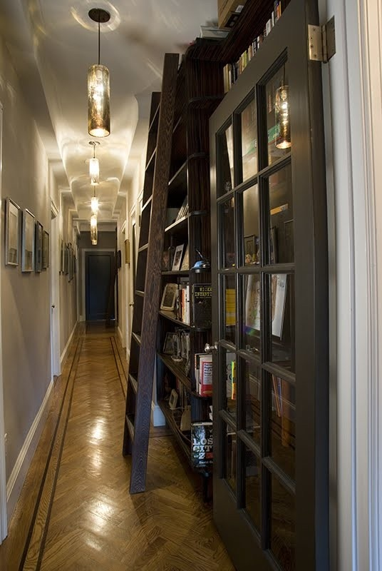 Great use of space for long, narrow corridor