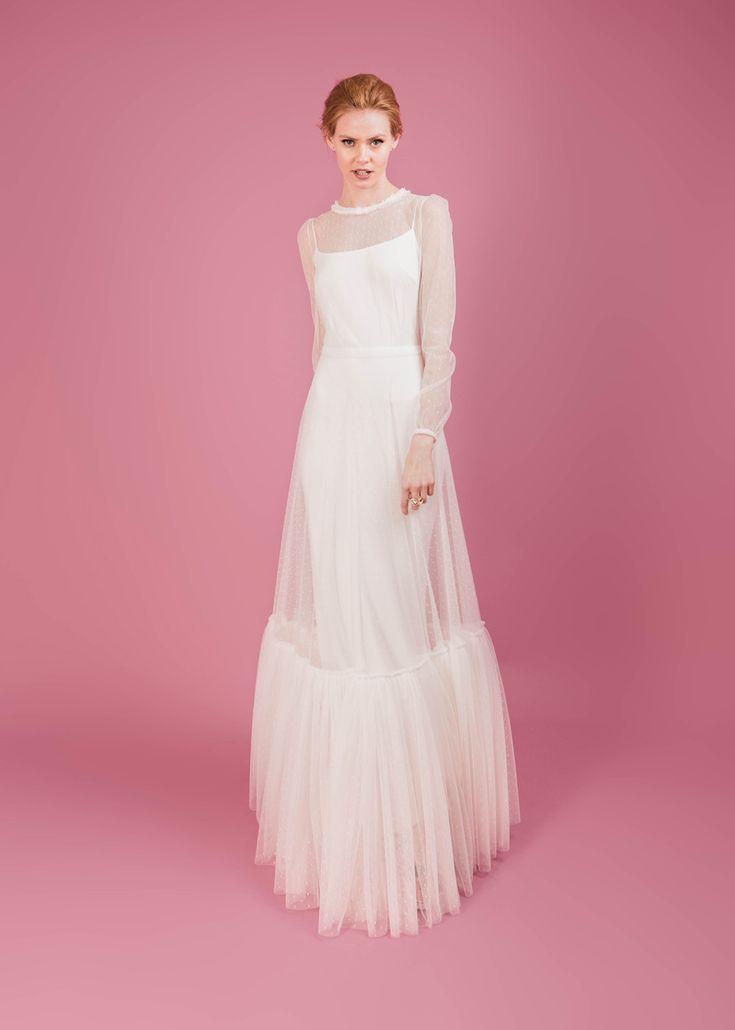 Modern wedding dress for the contemporary bride. Ellie dress. Polka dot tulle dress with bias cut silk moroccain slip.