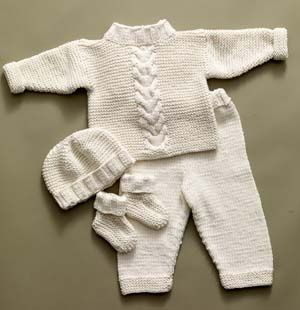 Free Knitting Pattern 60604A Cabled Baby Set : Lion Brand Yarn Company