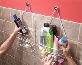 Knobs to hang shower caddy. Better than trying to get them to hang on the shower head