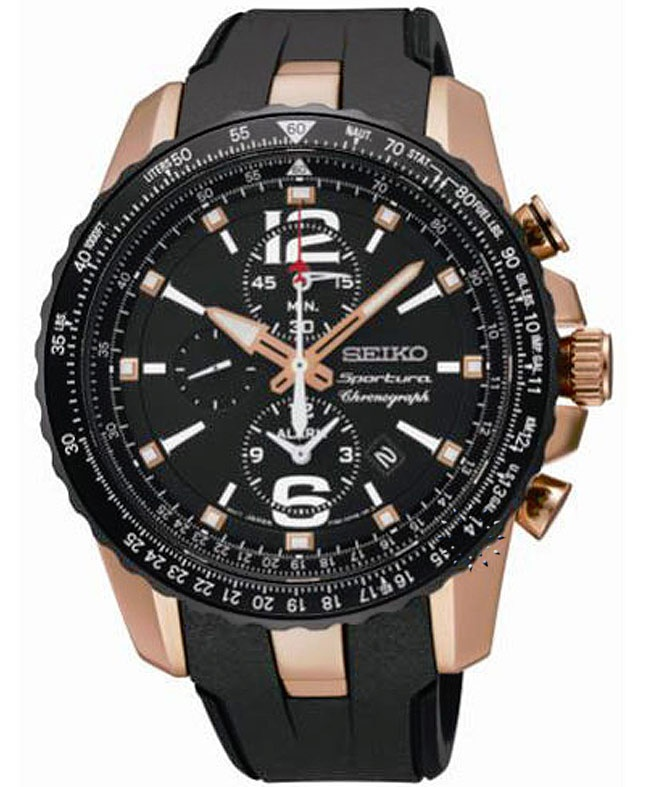 SEIKO SPORTURA Alarm Black Rubber Strap  519€  http://www.oroloi.gr/product_info.php?products_id=31713