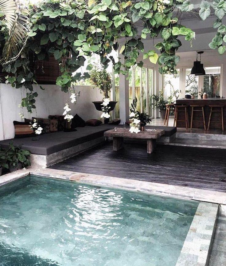 Built-in lounge. Great living pergola. Concrete hot tub.