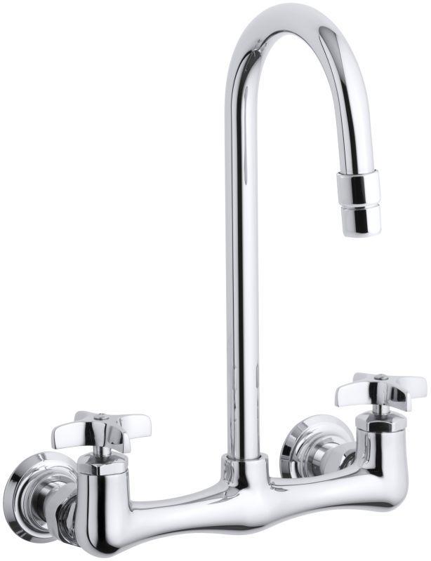 Kohler K-7320-3 Triton utility sink faucet with cross handles Polished Chrome Faucet Laundry Double Handle