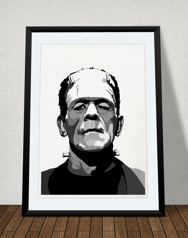 A vectorized print of the classic monster of Dr. Frankenstein.  Can be bought in different formats/sizes. From A5 to A0. © copyright/all rights reserved to Mojostore™ and Mojo Art & Design.