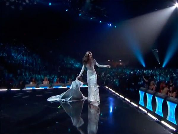 Uh-oh! Miss Nevada experienced what every pageant contestant DREADS at the 2015 Miss USA competition — she totally tripped while walking in the evening gown segment. Watch the whole thing, and her amazing recovery, here!