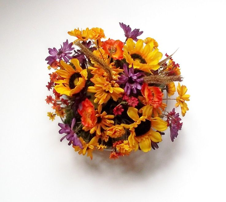 Fall Centerpiece, Centerpieces for Weddings, Silk Sunflower Centerpiece, Fall Silk Centerpiece. $30.00, via Etsy.
