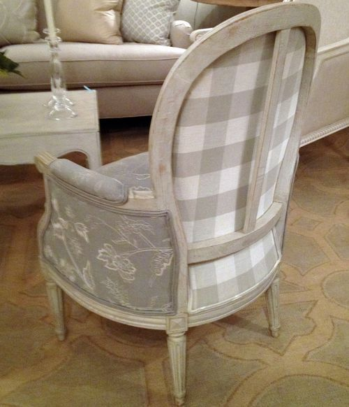 Love the unexpected fabric on the back. Recover her chair using pink and green…