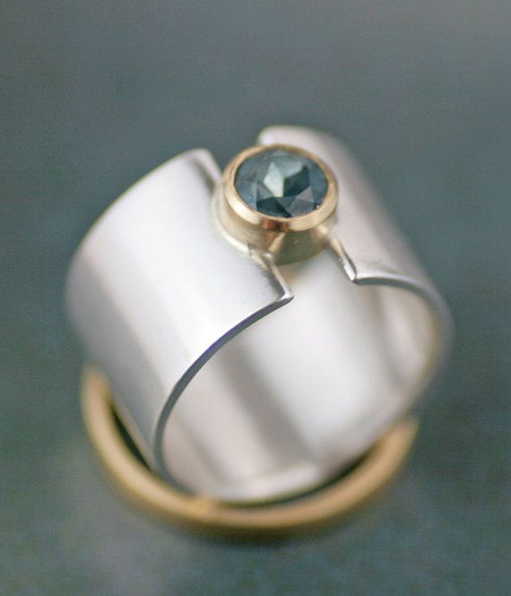 "wide band engagement ring - weddding band -  london blue topaz ""lunar eclipse"" sterling silver and 18K gold ring - eco-wedding"