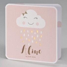 Vrolijke wolkje met gouden regendruppels - pink - 507.027