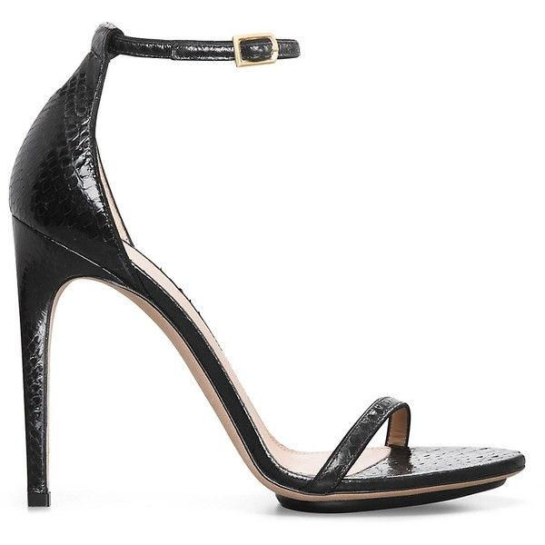 Calvin Klein Women's Python Ankle Strap Sandal ($657) ❤ liked on Polyvore featuring shoes, sandals, black, calvin klein, kohl shoes, calvin klein shoes, calvin klein sandals and black shoes
