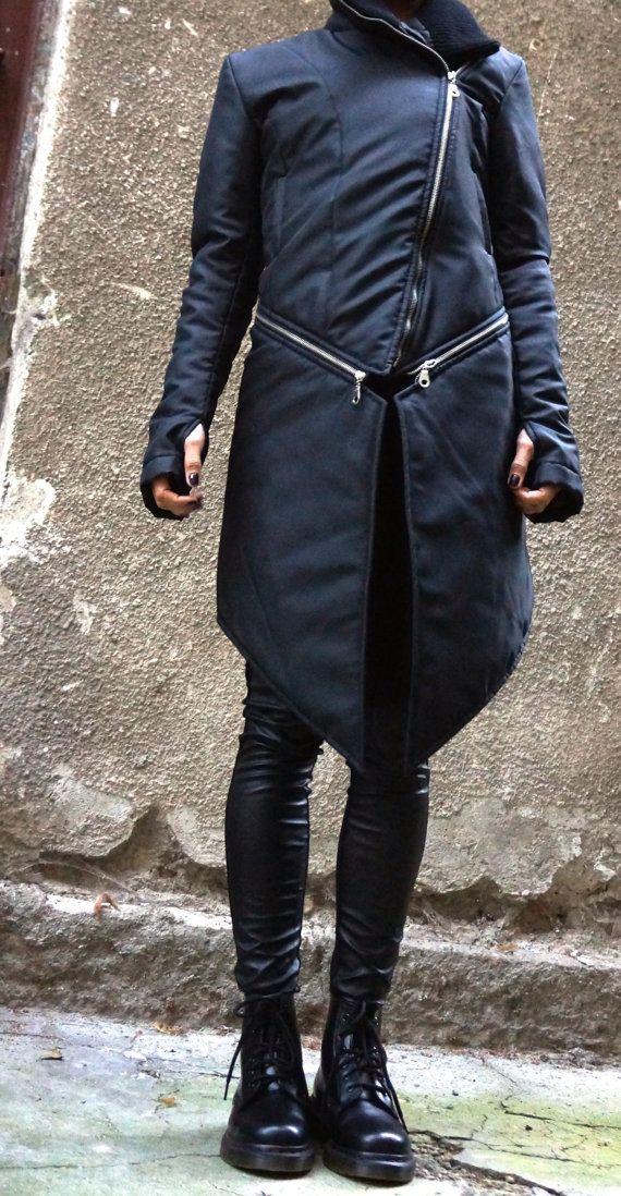 NEW Winter Warm Asymmetric Extravagant Black Coat / by Aakasha