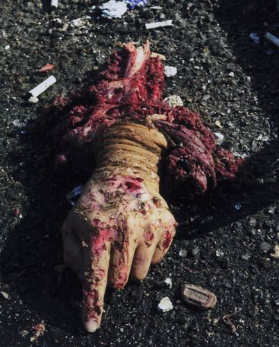 "People perished that day, but the photographs from 9/11 do not show mangled corpses and bloody carnage. There was an agreement among print media and television broadcasters not to show any corpses in connection with the attacks, and when the above picture by Todd Maisel, titled ""The Hand, 9/11″ appeared in the New York Daily News, it was roundly criticized. But, it was a reality of 9/11."