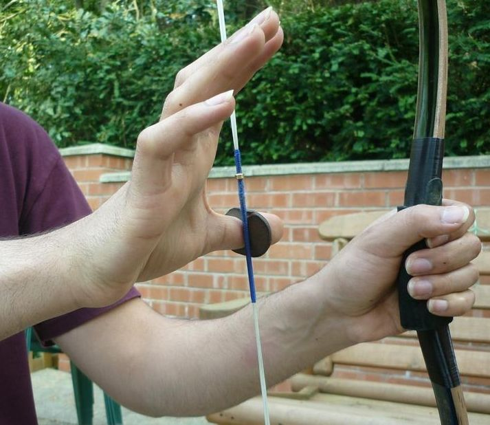 Thumb ring and string - detailed description on how to shoot using  thumb draw