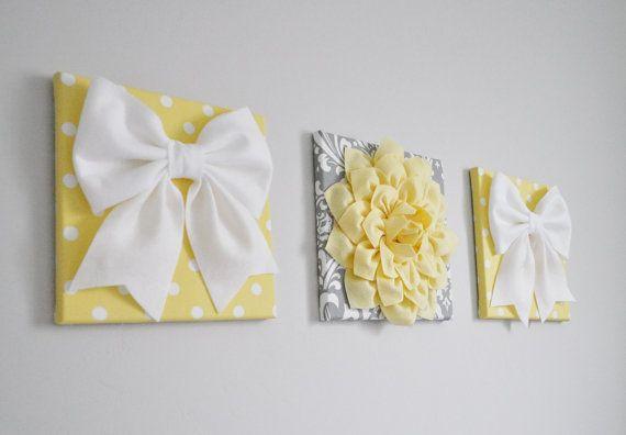 Vivero arte amarillo del bebé gris blanco conjunto de por bedbuggs