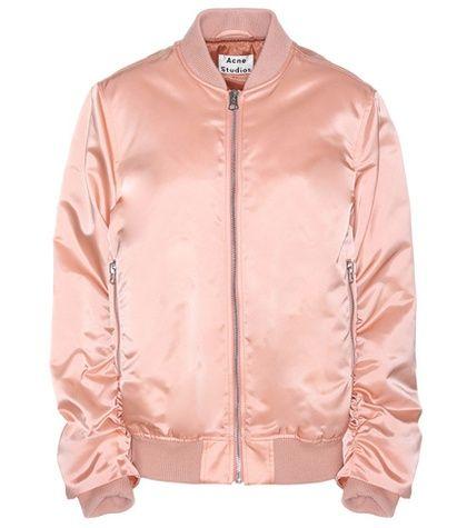 Buy it now. Leia Satin Bomber Jacket. Leia Pink Satin Bomber Jacket By Acne Studios , chaquetabomber, bómber, bombers, elbowdiamond, baseball. Hot pink ACNE STUDIOS  bomber jacket  for woman.