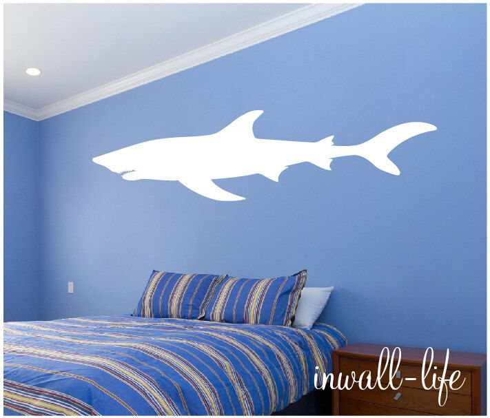 Great White Shark Wall Art Shark Wall Decal Shark Vinyl Sticker Art  Undersea Marine Life Wall