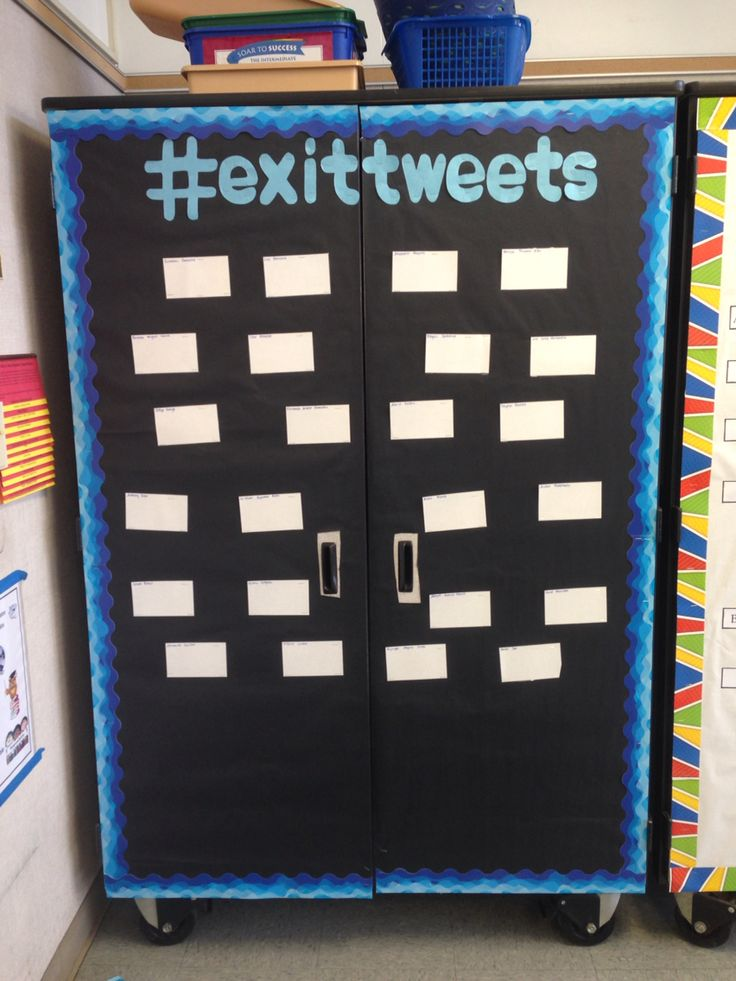 exit tweet bulletin board for exit tickets! laminated index cards with names!