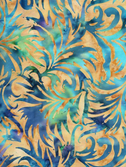 Bali Batik Fabric Midnight Jungle | via PearTreeRoad blue aqua teal turquoise gold