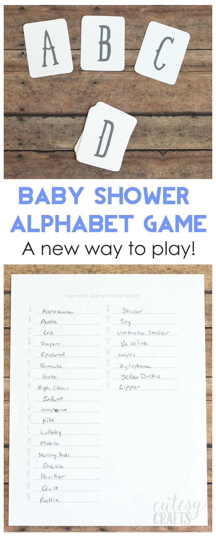 baby shower letters free printable baby shower alphabet cards 20541 | 62ec3ad27ee90ff44657ba3f642009cc alphabet games the alphabet