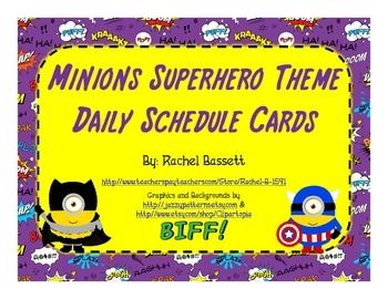 These Minion Superhero schedule cards are a cute and colorful addition to your Minions Superhero themed classroom!