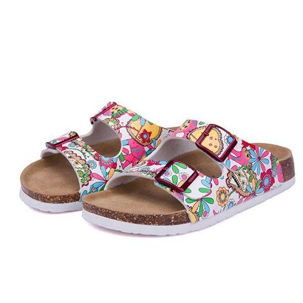 8514db49cc3f Summer Beach Cork Slipper Double Buckle Sandals